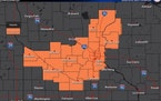 The area under a heat advisory from noon to 8 p.m. Friday.