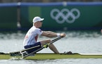 Kjetil Borch of Norway competes during the men's rowing single sculls heat at the 2020 Summer Olympics, Friday, July 23, 2021, in Tokyo, Japan. (AP