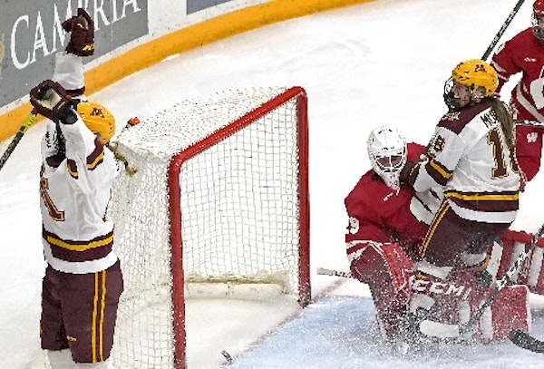 Two current Gophers, forwards Grace Zumwinkle (left) and Abbey Murphy (18), were selected to play for the U.S. women's hockey team Thursday.