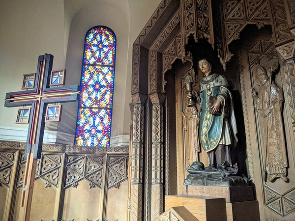 A shrine to St. Cloud, the patron saint of the Diocese of St. Cloud, inside St. Mary's Cathedral in downtown St. Cloud. The statue is a replica of t