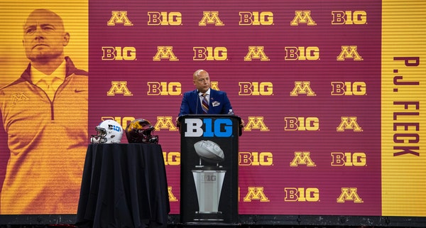 University of Minnesota head coach P.J. Fleck speaks during an NCAA college football news conference.