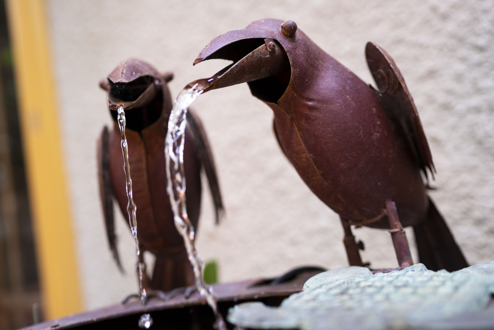 The fountains in Lyndel King's backyard include a theatrically animated pair of sculpted crows.