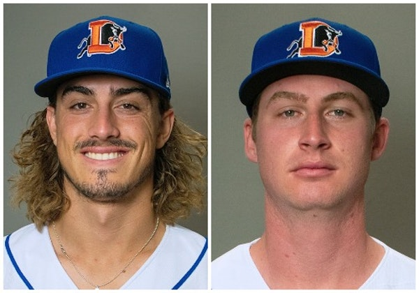 Joe Ryan (left) and Drew Strotman were the two Class AAA pitchers the Twins received in Thursday's Nelson Cruz trade.