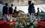 The funeral of Haiti's assassinated president, Jovenel Moïse, at his family homestead on the outskirts of Cap-Haitien, Haiti on Friday, July 23, 20
