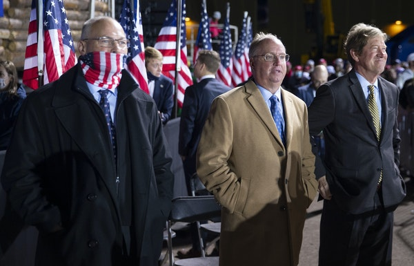 Republican U.S. Rep. Jim Hagedorn, center, said it's not his job to tell people to get vaccinated. ALEX KORMANN • STAR TRIBUNE