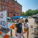 Cafe Astoria and Hope Breakfast Bar share a blocked off Leech Street in St. Paul as a pop-up pandemic patio on July 15. The popularity of the pop-up a