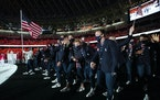 The U.S. Olympic team enters the stadium for the  opening ceremony Friday.