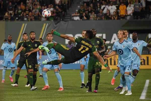 Portland's Jeremy Ebobisse left his feet to play a ball against Minnesota United FC on June 26, the last time the Timbers and Loons met.