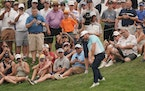 Louis Oosthuizen chipped on to the ninth green Friday at the 3M Open.