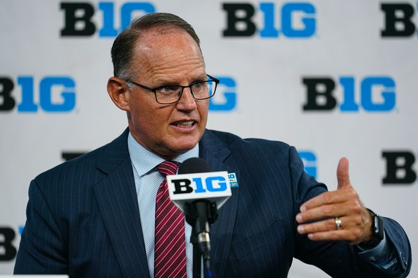 Indiana coach Tom Allen spoke to reporters during Big Ten Conference Media Days on Friday at Lucas Oil Stadium in Indianapolis.