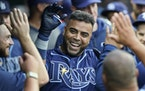 Nelson Cruz introduced himself to his new team Friday night by hitting a home run in his second at-bat for the Rays in Cleveland.