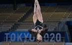 Grace McCallum of Isanti trained in the floor exercise at Ariake Gymnastics Centre on Thursday in Tokyo.