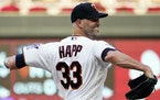 J.A. Happ gave up three first-inning runs for the Twins on Friday night, but the veteran lefthander eventually settled in.