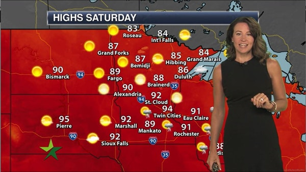 Morning forecast: 94, clearing skies, less humid