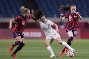 Rose Lavelle (16), right, was one of the best players on the field in the U.S.' 6-1 win over New Zealand.