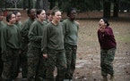 A drill instructor shouted instructions at her Marine recruits during boot camp in 2013 at MCRD Parris Island, S.C.