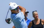 Rickie Fowler tees off on the ninth hole during the third round of the 3M Open golf tournament in Blaine, Minn., Saturday, July 24, 2021. (AP Photo/Cr