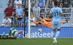 Portland forward Felipe Mora scored a first-half goal against Minnesota United goalkeeper Tyler Miller on Saturday night.