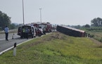 Emergency crews work at the site of a bus accident near Slavonski Brod, Croatia, Sunday, July 25, 2021.