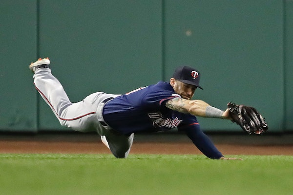 Jake Cave, back from a back injury that sidelined him for 74 days, is the Twins' third different center fielder in three days.