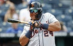 Tigers star Miguel Cabrera reacted to an inside pitch Sunday at Kansas City, when Detroit lost its seventh consecutive road game.