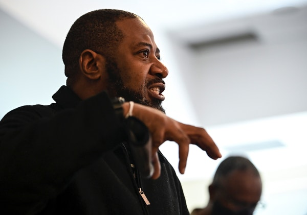Rep. John Thompson spoke at a news conference on March 5, 2021, in Minneapolis. Thompson has apologized to the St. Paul police officer he accused of r