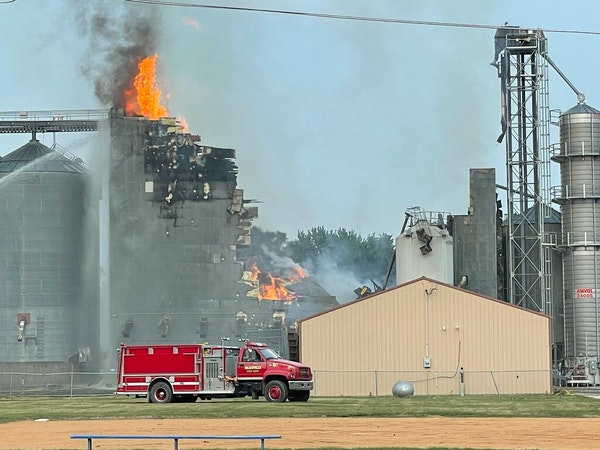 Multiple agencies responded to the former Clinton Co-Op Farmers Association elevator fire in the western Minnesota town on Sunday, July 25, but the bu