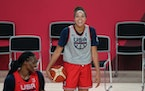Lynx stars Sylvia Fowles, left, and Napheesa Collier shared a laugh with United States teammates during a practice Saturday in Saitama, Japan.