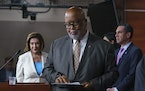FILE - In this July 1, 2021, file photo Rep. Bennie Thompson, chairman of the House Homeland Security Committee, flanked by Speaker of the House Nancy