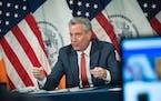 Mayor Bill de Blasio at City Hall on February 23, 2021 in Manhattan, New York.