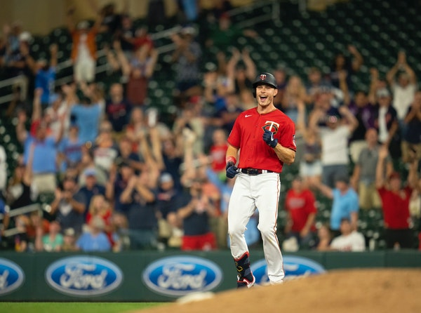 Max Kepler reacted after he hit an RBI single in the 10th inning that scored Kenta Maeda to top the Tigers.