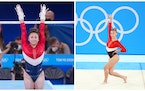 Minnesotans Suni Lee, left, and Grace McCallum shook off their nerves Tuesday and won a silver medal for the U.S., pulling together after Simone Biles