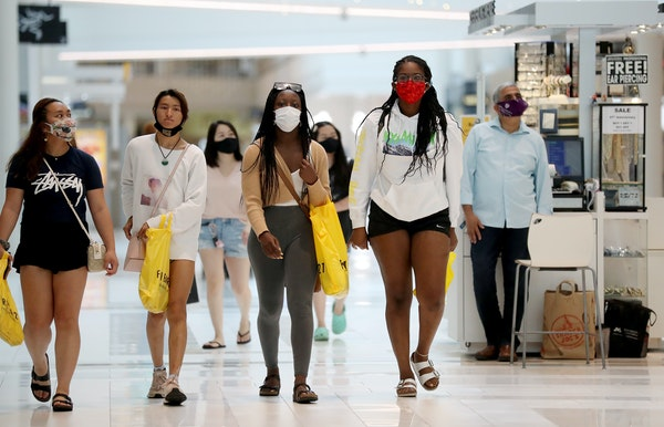 The CDC on Tuesday recommended that fully vaccinated people should resume mask-wearing in public indoor spaces in areas of the country with substantia
