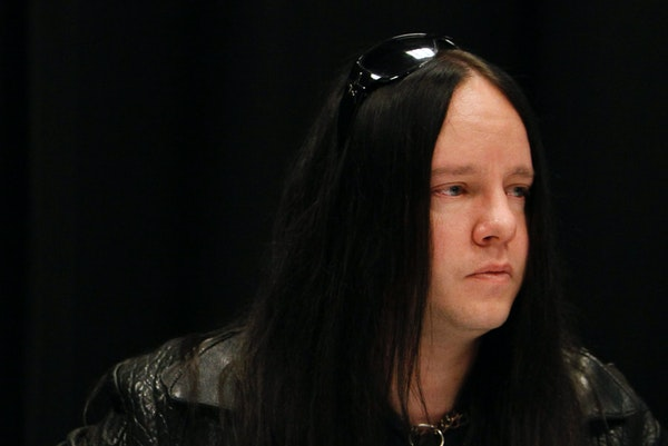 Slipknot band member Joey Jordison participates in a news conference about the death of bassist Paul Gray on May 25, 2010, in Des Moines, Iowa. Jordis