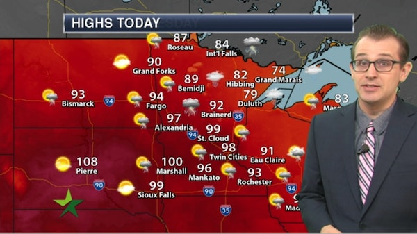 Morning forecast: High 98; dangerously hot with storms