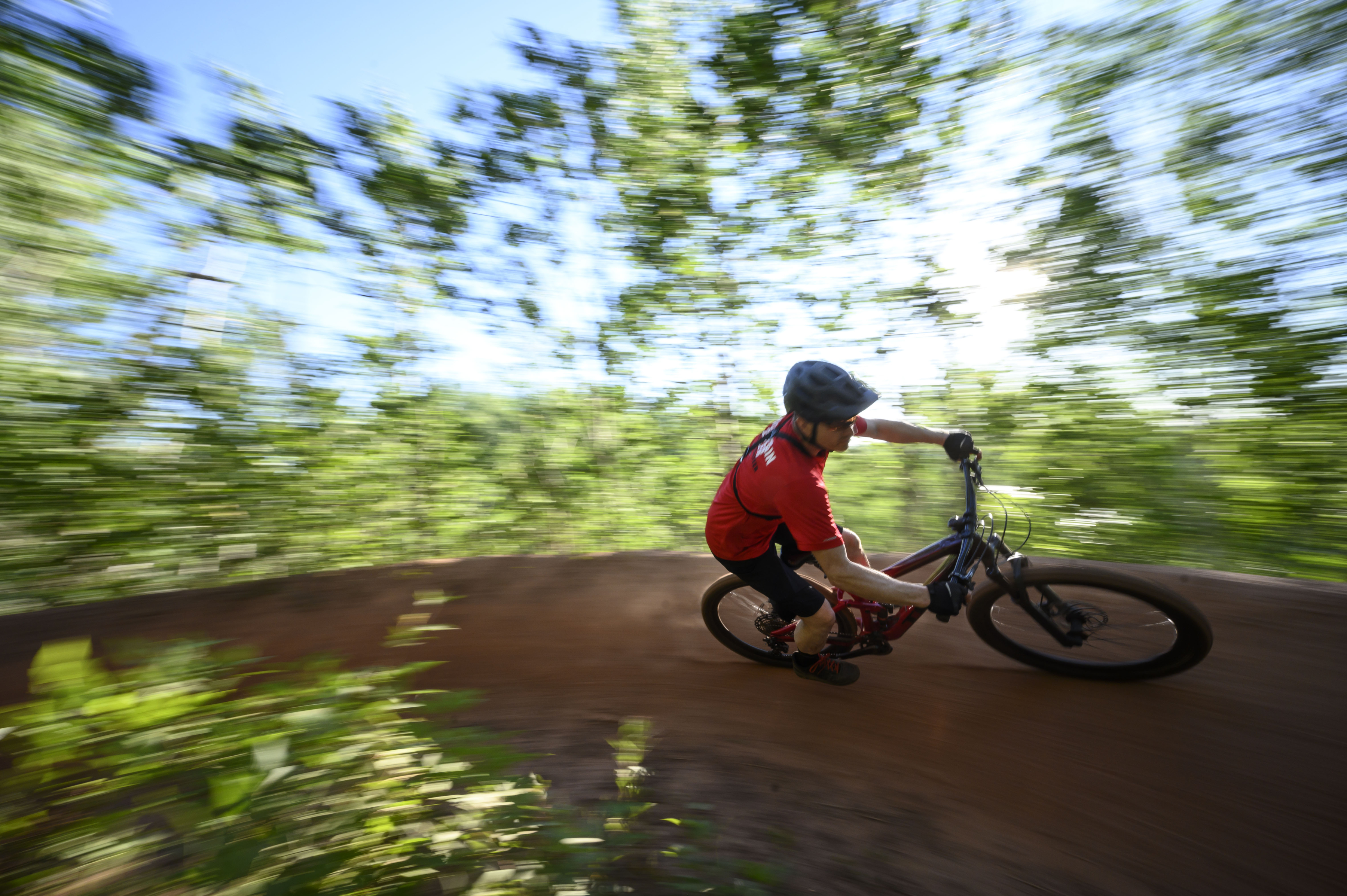 Chuck Carlson navigated a low bank on Roly Poly. He and his wife, Sue, are teachers in the Brainerd area and avid mountain bikers.