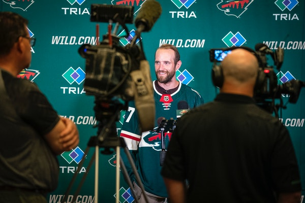 Newly signed free-agent defenseman Alex Goligoski spoke during a press conference at the Wild offices in St. Paul on Wednesday.