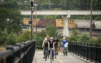 A group of cyclists rode the new Robert Piram Regional Trail from Kaposia Landing Park in South St. Paul on Wednesday.