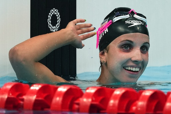 Lakeville native Regan Smith celebrated her silver medal in the 200-meter butterfly final Wednesday in Tokyo.