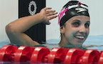 Regan Smith of the United States celebrates her second place finish in the women's 200-meter butterfly final at the 2020 Summer Olympics, Thursday, Ju