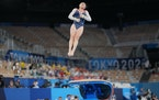 Sunisa Lee of the United State performs on the vault during the women's all-around gymnastics competition Thursday.