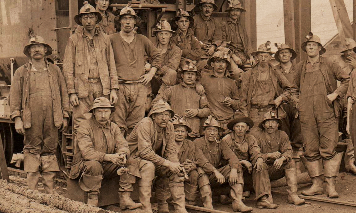 Miners gathered at the Portsmouth Mine. Date unknown.