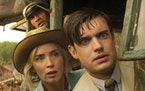 """Dwayne Johnson (top), Emily Blunt and Jack Whitehall in """"Jungle Cruise."""""""