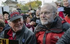 Ben Cohen, left, and Jerry Greenfield, co-founders of Ben & Jerry's ice cream, attended a protest in Washington in 2019. The Vermont-based Ben & Jer