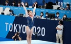 Sunisa Lee of the United States after landing her balance beam routine during the women's all-around gymnastics competition at the 2020 Tokyo Olympi