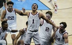 Jalen Suggs celebrated after making the winning shot in the NCAA semifinals when Gonzaga beat UCLA in overtime on April 3 in Indianapolis.