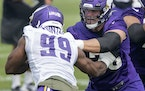 Vikings right tackle Brian O'Neill blocked against defensive end Danielle Hunter during the second day of training camp Thursday.