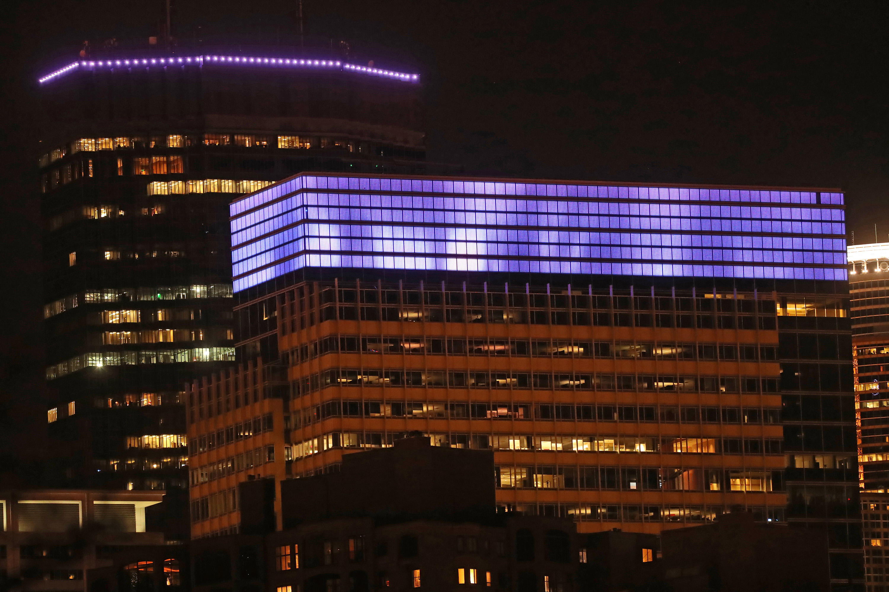 Target's headquarters and the IDS Center were lit purple to mark the one-year anniversary of Prince's passing on April 20, 2017.
