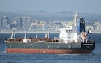 This Jan. 2, 2016 photo shows the Liberian-flagged oil tanker Mercer Street off Cape Town, South Africa.