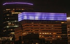 South Tower of Target's Corporate headquarters and the IDS building were lit purple to mark the one-year anniversary of Prince's passing on April